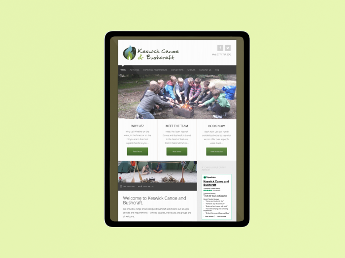 Keswick canoe and bushcraft web design sample