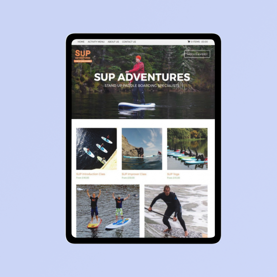 Sup adventures web design sample