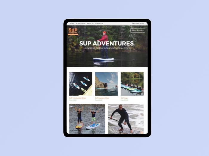 Sup adventures web design sample