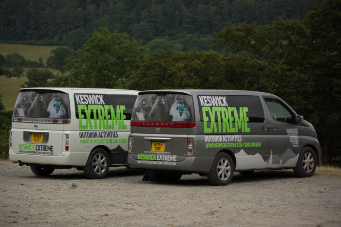 Two vans from a graphic design project