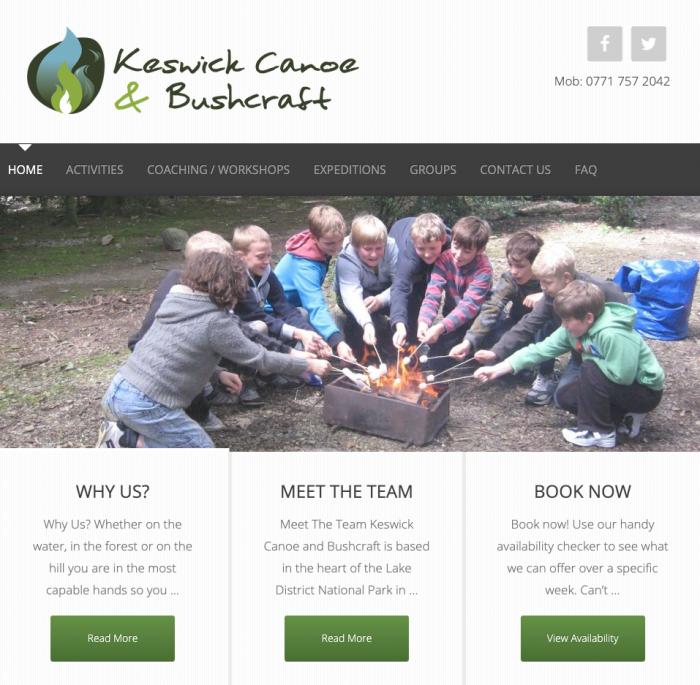 Keswick canoe and bushcraft web design project