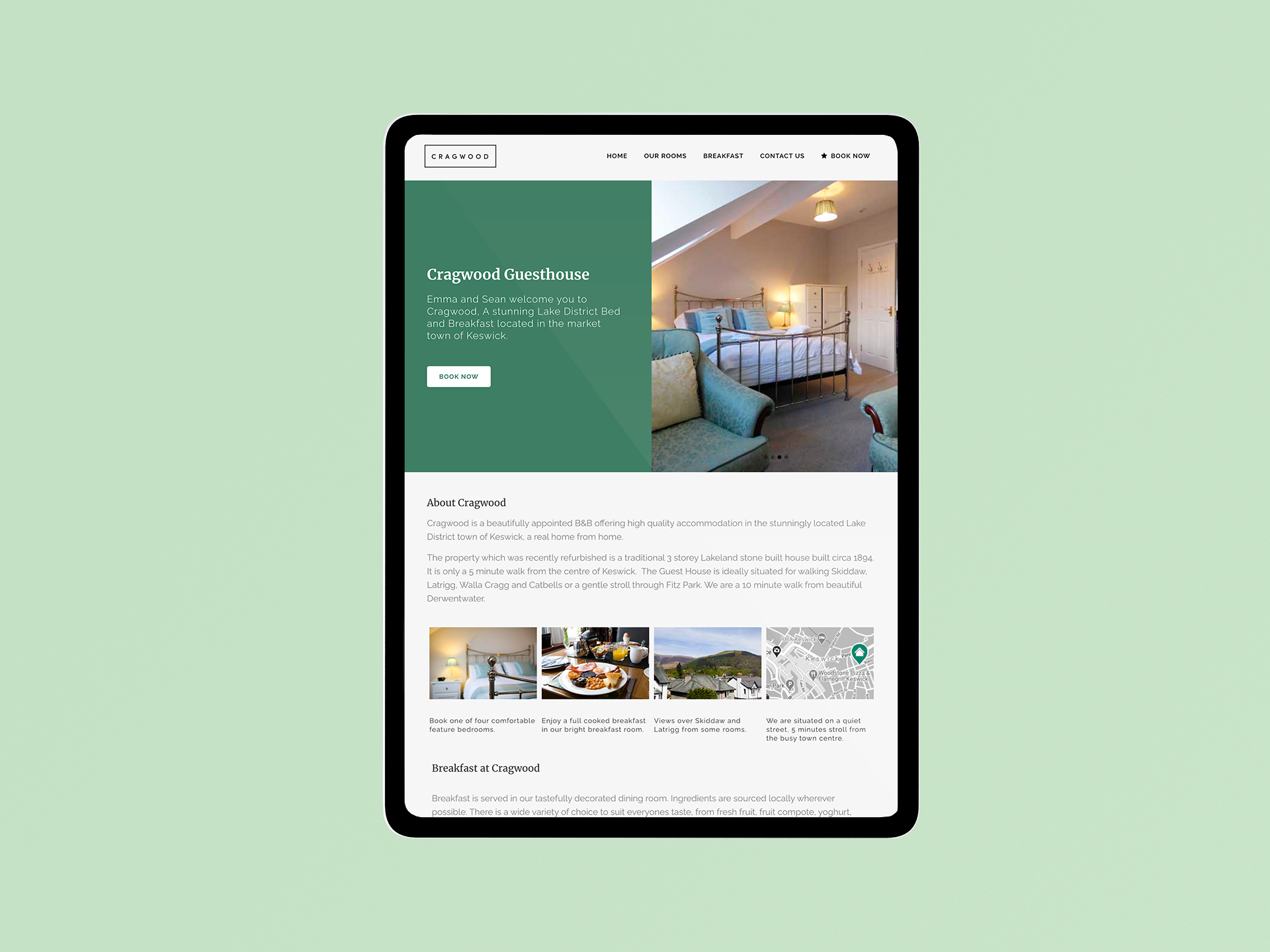 Cragwod guest house keswick web design project